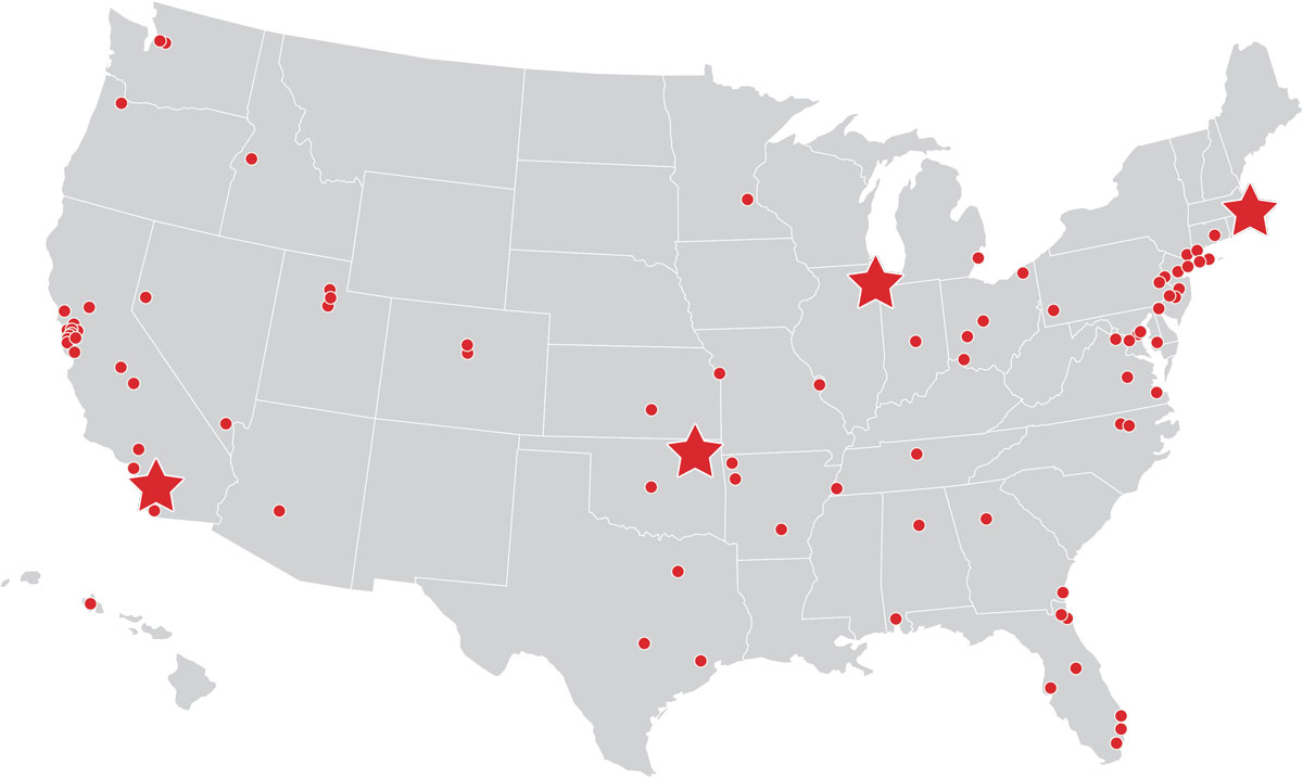 Map of all NKF Locations in the USA
